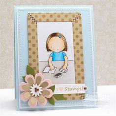Pure Innocence Crafty Friends; Darling Dots; Hearts and Stitches; Flower Medley Die-namics; Flower Box Die-namics; Sentiment Strips 2 Die-namics; Chalkboard Frame Builder Die-namics - Karen Giron