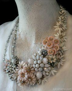 Bridal Bliss Necklace. Paris Necklace. Pale Pink, Soft White. Kay Adams. $250.00, via Etsy. - WOW