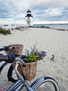 I think that a Nantucket bike basket will greatly enhance your bike ride to the beach! The baskets are gorgeous and look so handsome on Beach Cruisers. Photo Via Nantucket . Read moreNantucket Bike Baskets -Cruising the Beach in Style Nantucket Bike Basket, Brant Point Lighthouse, Beacon Of Light, Jolie Photo, Beach Cottages, Cape Cod, Picnics, New England, Seaside