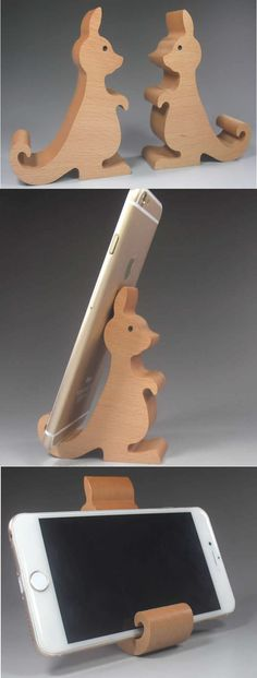 Wooden Kangaroo Shaped Mobile Phone iPad Holder Stand