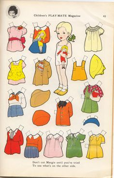 MARGIE – CHILDRENS PLAYMATE PAPER DOLL {Marlendy is Margery Schaffer who wrote, This Paper Doll really was a surprise when I opened the magazine and saw it!} August 1957 issue of Children's Playmate Magazine. No name of artist, but Jean Rinaldo was art editor then.