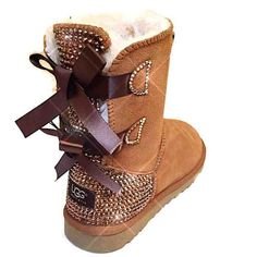 e816c1a2662 bling UGG boots - crystal UGGs- FREE SHIPPING- bling snow boots- womans ugg  boots- custom ugg boots with bows- bling chestnut ugg boots