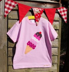 Yummy Ice cream applique t shirt. £12.00, via Etsy.