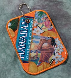 Luggage Tag from Recycled Hawaiian Luau BBQ Chip Bags by squigglechick on Etsy