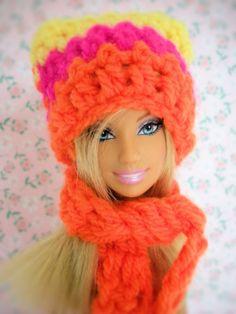 Barbie dolls hat and scarf/barbie hat/barbie hat and scarf/barbie clothes/crochet/barbie/barbie accessories/barbie gift