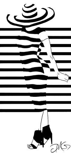 figure and design study, Al Hirschfeld inspired minimalism, and focus on line