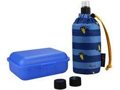 Emil die Flasche zum Anziehen - 400 ml von Emil - die Flasche zum Anziehen, Starterset Rabe blau - Trinkflasche & Brotbox inkl. Trink Cap (Ziehverschluss) und zwei Einfachverschlüssen. Kunststoffteile aus schadstoff- und weichmacherfreiem Polypropylen (PP).