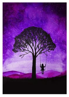 Fabulous Silhouette Painting by Danielle Foye. UK based self employed artist… Watercolor Paintings For Beginners, Watercolor Drawing, Painting & Drawing, Galaxy Painting, Galaxy Art, Cadre Diy, Silhouette Painting, Black Silhouette, Oil Pastel Art