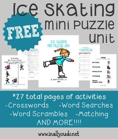 Kids will have fun learning with these ice skating mini puzzle & activity pages! Includes puzzles & activities for PreK to grade! Toddler Learning Activities, Writing Activities, Fun Learning, Ice Skating Party, Skate Party, Easy Word Search, Hard Words, Singing In The Rain, Love My Kids