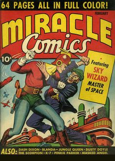 Sky Wizard: Master of Space - Miracle Comics - Golden Age Comics Superhero Poster - http://aimcollectibles.blogspot.com/2015/10/sky-wizard-miracle-comics-poster.html