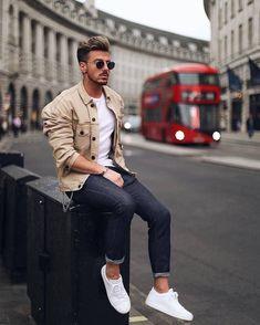 Tan trucker jacket darker denim white sneakers no show socks sunglasses white t shirt   #tshirt #truckerjacker #denim #menswear #menstyle #streetstyle #streetwear #streetfashion #whitesneakers  #mensfashion Sneakers Fashion, Mens Fashion, Style, Male Fashion, Swag, Man Fashion, Men Fashion, Moda Masculina, Men's Fashion Styles