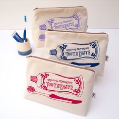 Use my canvas pencil bags to yudu - Screen Printed Toothpaste Washbag by Megan Alice England £20