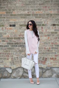 blushing… (Pink Peonies by Rach Parcell) White Jeans Outfit, Denim Outfit, Spring Summer Fashion, Autumn Fashion, Blush Outfit, White Dress Summer, Blush Dresses, Pink Peonies, Yellow Roses
