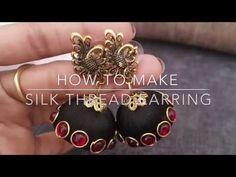 This is a DIY tutorial for making silk thread jhumka earrings. Silk thread jewellery making is very easy and this video of making silk thread jhumka earrings. Silk Thread Earrings Designs, Silk Thread Bangles Design, Silk Bangles, Bridal Bangles, Jewelry Design Earrings, Thread Jewellery, Fabric Jewelry, Paper Jewelry, Temple Jewellery