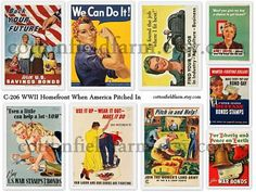 WW2 Homefront 1940s When America Pitched In Digital Collage C-206 WWII Poster Tags, Scrapbooking, Journaling. $1.99, via Etsy.