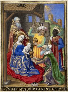Georges Trubert  The Adoration of the Magi  France (c. 1480 - 1490)  Tempera colors, gold leaf, gold and silver paint, and ink on parchment; 11.4 x 8.6 cm.