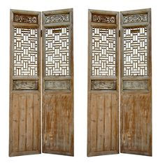 19th Century Large Chinese Four-panel Wooden Lattice Door Or Screen