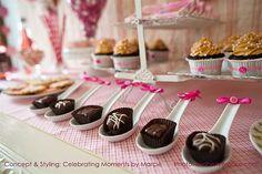 chocolate truffles in spoons