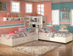 girls bedroom for 2 | The neat idea of having a pull out bed under the corner elevated study ...