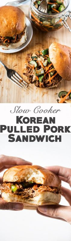Slow Cooker Korean Pulled Pork with Cucumber Kimchi and Gochujang BBQ Sauce
