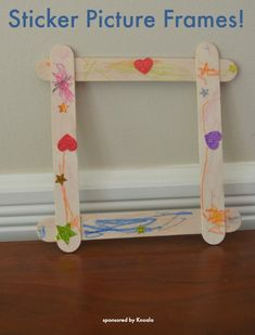 Sticker Picture Frames - an easy toddler craft! Easy Toddler Crafts, Easy Crafts, Diy And Crafts, Crafts For Kids, Craft Stick Projects, Craft Stick Crafts, Craft Sticks, Craft Ideas, Popsicle Sticks