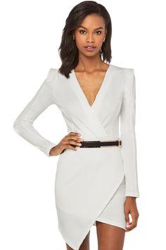 White Long-Sleeve Cross Over Mini Jersey Dress