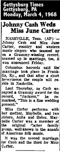 Johnny Cash weds June Carter, ... Best Country Music, Country Music Stars, Country Singers, Johnny Cash June Carter, Johnny And June, Carter Family, Beautiful Love Stories, Film Music Books, Cool Countries