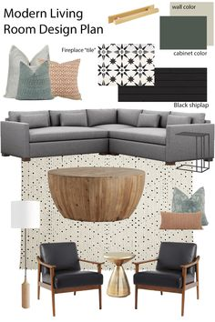 Sharing our modern living room design plan! Get some living room ideas including modern sectional, d Ikea Living Room, Boho Living Room, Living Room Sets, Living Room Chairs, Living Room Designs, Living Room Furniture, Transitional Living Rooms, Modern Living, Minimalist Living