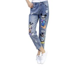 boyfriend jeans for Women Ripped Embroidery Pockets Patchwork Hole Girls Denim Penci Mickey Mouse Jeans Ripped Boyfriend Jeans, Skinny Jeans, Minnie Mouse, Denim, Pants, Pockets, Embroidery, Clothes, Type