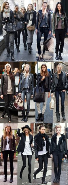 model basics. black leather jacket. model street style