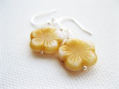 Yellow Blossom Sterling Silver earrings  UK by blossomingsilver, £9.00
