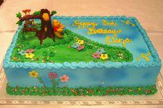 Winnie the Pooh sheet cake Winnie The Pooh Cake, Winnie The Pooh Birthday, Baby 1st Birthday, Baby Shower Fun, Baby Shower Cakes, Baby Showers, Birthday Sheet Cakes, Friends Cake, 1st Birthdays