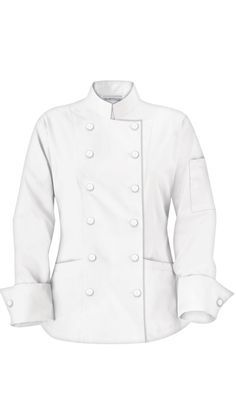 0abb7d28771 Traditional Women s Chef Jackets - Fabric Covered Buttons - 65 35  Poly Cotton by