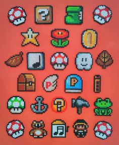 Super Mario Bros 3 Christmas Ornaments perler beads by Nerdlers perler,hama,square pegboard,video games,nintendo, super mario bros,mushroom,
