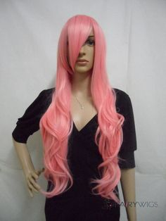 Sparkle Capless Long Synthetic Hair Pink Wavy Cheap Costume Wigs