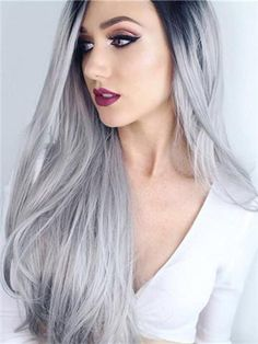 Grey Ombre Synthetic Lace Front Wig – FashionLoveHunter--Long cool black to grey ombre synthetic lace front hair wig Synthetic Lace Front Wigs, Synthetic Wigs, Grey Hair Cover Up, Wig Styling, Grey Wig, Gray Hair, Black Roots, Grey Ombre, Silver Ombre
