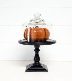 Pumpkin pedestal cloche. #MarthaStewartLiving