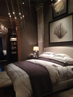 Home Sweet Home. Ideas Example of romantic bedroom ideas for couples in love 23 – fugar. Comfy Bedroom, Bedding Master Bedroom, Small Room Bedroom, Dream Bedroom, Modern Bedroom, Bed Room, Dark Romantic Bedroom, Dark Master Bedroom, Contemporary Bedroom