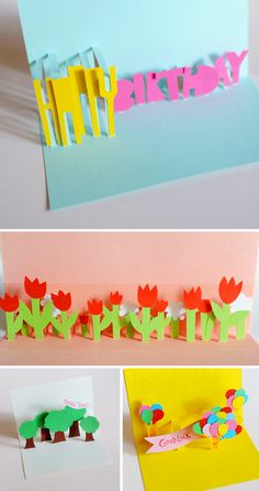 DIY: pop-up cards - fold card in half; cut parallel lines (in pairs of the same length) into the middle fold; cuts should be max half the length of the card (otherwise they'll stand out when you close it). Push the flaps forward; to make them stand; glue on any pictures. #Cards  #paper
