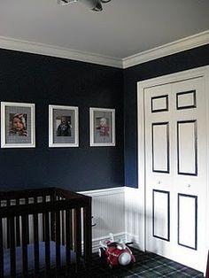 Dark walls & accent on door.