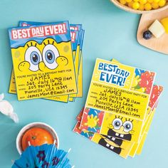 These printable birthday invites will get guests pumped for your SpongeBob party! Spongebob Birthday Party, Happy 8th Birthday, Printable Birthday Invitations, Invites, Birthday Party Decorations, Birthday Ideas, Birthday Stuff, Party Themes, Birthday Parties
