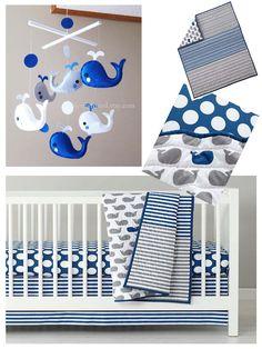 circo 4pc crib bedding set - whales 'n waves | crib bedding sets