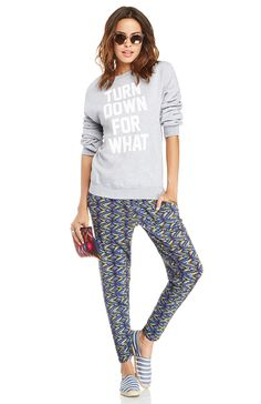 57995698b4d Wear a graphic sweatshirt noting one of summer s favorite anthems with a  multi-colored pair