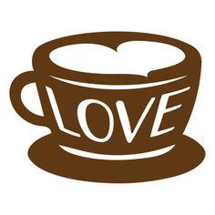 Silhouette Design Store: love coffee cup