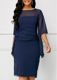 dress for women Chiffon Overlay Half Sleeve Navy Blue Dress Cheap Blue Dresses, Blue Chiffon Dresses, Blue Bridesmaid Dresses, Chiffon Maxi Dress, Navy Blue Dresses, Sexy Dresses, Beautiful Dresses, Casual Dresses, Lace Dress