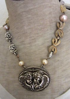 sweet baby angels  vintage assemblage necklace by TheFrenchCircus, $140.00
