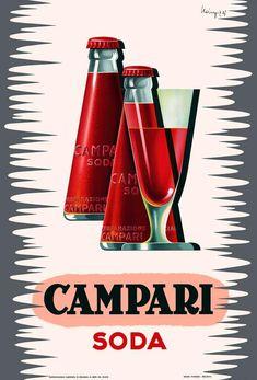 Advertising Poster Campari Soda by Mingozzi 1950 Edited.