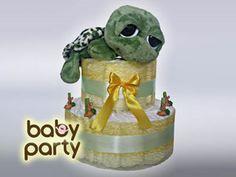 Jarná edícia Baby Party je tu. Pre začiatok tu máme túto korytnačku pohodlne vyvalenú na veľkej plienkovej torte . Balíček má v sebe 40 plienok (Happy č.2).