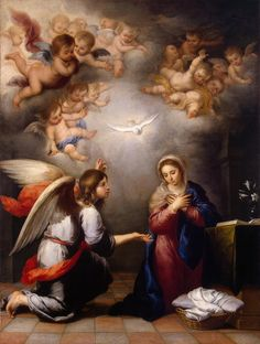 Bartolomé Esteban Murillo was a Spanish Baroque painter ~ The Angel Gabriel visits the Virgin Mary in The Annunciation ~ 1655 ~ Hermitage House in St. Blessed Mother Mary, Blessed Virgin Mary, Catholic Art, Religious Art, Roman Catholic, Religious Humor, Religious Paintings, Catholic Prayers, Feast Of The Annunciation