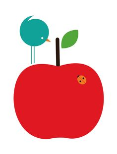 Day 220 - Red apple with a blue bird, Illustration by Kelly Hyatt, via Behance